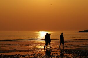 beach, sunset, silhouette