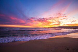 sunset, beach, horizon